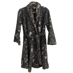 Anthropologie Lilka Jacquard Gray Robe